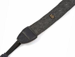 Black/Grey Herringbone Tweed Retro Style Camera Neck Shoulder Strap SLR UK STOCK