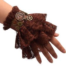 Victorian Steampunk Brown Lace Gear Wrist Cuff Party Gothic Fancy Dress Bracelet