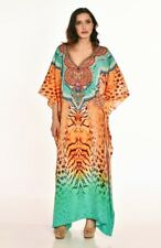 NEW Women's long Kaftan Dress Boho Beach dress with embellished neckline