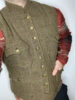 Ralph Lauren Tweed Vest Jacket Hunting RRL Polo Houndstooth M/L Military Rugby