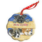 Akita Holiday Porcelain Christmas Tree Ornament
