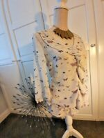 NEXT LADIES BUTTERFLY BLOUSE IN SIZE 12 WHITE /PINK.. LONG SLEEVE SMART SPRING O