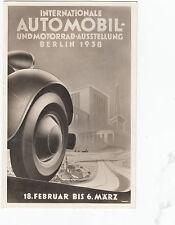 Intern Automobiel+Motorrad Austellung Berlin 1938  orginal Werbekarte mit SST