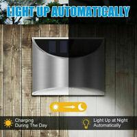 1 Solar Powered 4 LED Wall Lights Gutter Fence Outdoor Garden Lamp Waterproof US