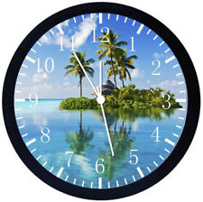 Palm Tree and Beach Black Frame Wall Clock Nice For Decor or Gifts Y10