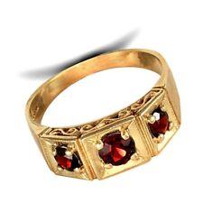 Garnet Three Stone Ring Men's Solid 9 Carat Yellow Gold Handcrafted Hallmarked