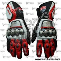 Ducati Motorbike Racing Leather Gloves Available in All Sizes