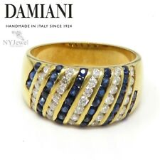 NYJEWEL Damiani 18k Yellow Gold 1.3ctw Sapphire & Diamond Band Ring