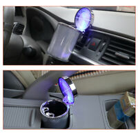 Car Ashtray LED Air Vent Cigarette Ash Tray Holder Container Cylinder Movable