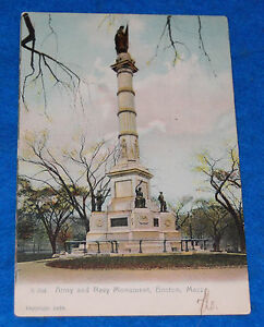 Army And Navy Monument Boston Mass. Postcard, 1903