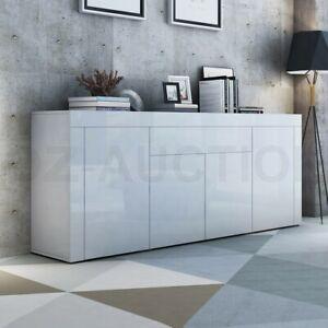 200cm Buffet Sideboard Cabinet High Gloss Storage 4 Door 1 Drawer Cupboard White