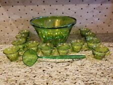 VINTAGE INDIANA CARNIVAL GLASS GREEN PUNCH BOWL, LADLE & 12 CUPS
