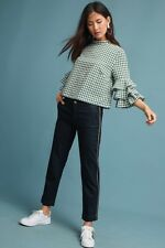 NWT Anthropologie Seafarer Italy Blue Gold Piped Denim Trouser Crop Pants 28