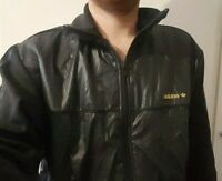 Adidas Black Wet Look Top Large Shiny Tracksuit Jacket Glanz Poss Gay Int