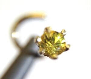 New | 14K Yellow Gold Natural .10CT 3mm Yellow Sapphire Nose Stud Screw