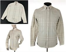 Men's BURBERRY LONDON Nova Check Logo Plaid Beige Long Sleeve Shirt 38 M 15-39