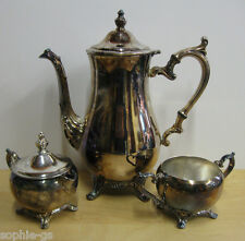 WM Rogers Silverplate 4 Piece Tea Set - Tea Pot Creamer Pitcher & Lid Sugar Bowl