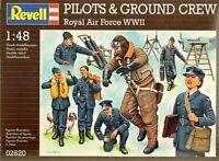 KIT REVELL 1:48  7 SOLDATINI NON COLORATI PILOTS E GROUND CREW ROYAL AIR 02620