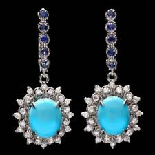 Certified 6.10cttw Turquoise 1.25cttw Diamond 14KT White Gold Earings