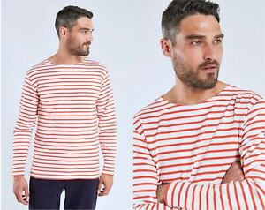 ARMOR LUX Heritage Breton Red White Stripe 100% Cotton Pullover Shirt FRANCE