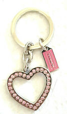 NEW Coach Heart Cutout Pave Crystal Key Chain Ring PINK Rhinestone