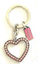 NEW Coach Heart Cutout Pave Crystal Key Chain Ring PINK Valentine Rhinestone