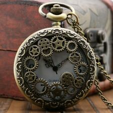 Doctor Who Steampunk Gears Cog Quartz Stainless Steel Pocket Watch Full Hunter