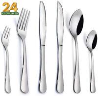 24Pcs Flatware Set Stainless Steel Silverware Set Kitchen Cutlery Service For 4