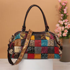 Women Genuine Leather Bohemian Handbag Patchwork Crossbody Shoulder Bag Tote