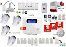 Pack Alarme GSM sans fil détecteur IR Fumée ouverture Sirène extérieure Français
