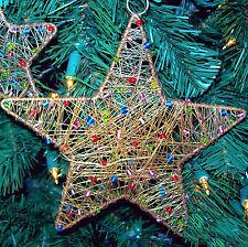 Christmas Tree Decoration Handmade Rustic Star Holiday Decor for Fireplace SET/2