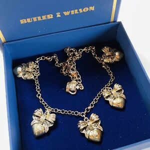 SIGNED BUTLER & WILSON PEARL BOW/HEART GOLD PLATED DROP NECKLACE (boxed)