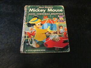MICKEY MOUSE GOES CHRISTMAS SHOPPING-1953 Little Golden Book-VG