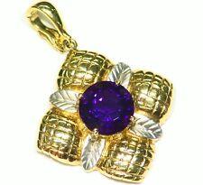 5.83GM 14K Solid Gold Natural Amethyst Vintage Art Deco Engagement Necklace