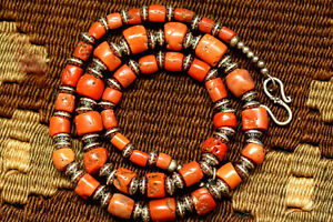 """ANTIQUE CORAL BEADED NECKLEC NATURAL CORAL BEADS STERLING SILVER BEADS 18"""""""