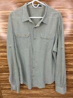NAU Mens XXL Organic Cotton Button Front Long Sleeve Shirt Green Gold Plaid 2XL