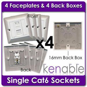 4 x Single Socket RJ45 Cat6 Gigabit Face Plates & Back Boxes White