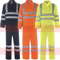 Hi Viz Safety Coveralls Overalls BoilerSuit Mens EN471 Reflective Tape Workwear
