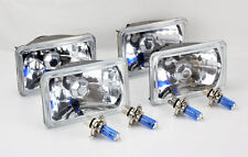 "FOUR 4x6"" Halogen Semi Sealed H4 Crystal Clear Headlights Conversion Bulbs Chevy"