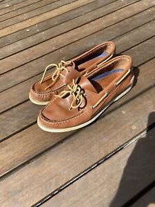 Sperry Top Sider Mens Boat Shoes Size 9.5 Brown Leather (Light)
