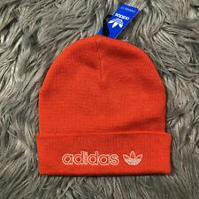 NEW adidas Originals Forum Outline Beanie Knit Hat Cap Trefoil Logo White Orange