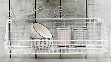 Large White Storage Basket Wall Display Shelf Shabby Chic Vintage Style