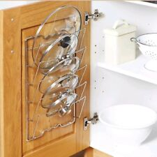 Kitchen Over Door & Wall Cupboard Saucepans Pan Lids Storage Rack Holder -5 Lids