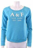 ABERCROMBIE & FITCH Womens Sweatshirt Jumper Size 10 Small Blue Cotton  IQ15
