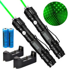 2Pc Star Green Laser Pointer Pen Portable Rechargeable Lazer+Belt Clip+Charger