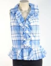 Lauren Ralph Lauren Women's Blue Ruffle Plaid Sleeveless Blouse Top /Shirt Sz 14