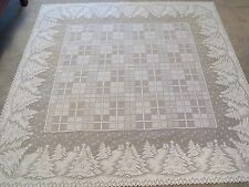 New White  lace Winters Eve design Tablecloth 60 x 83
