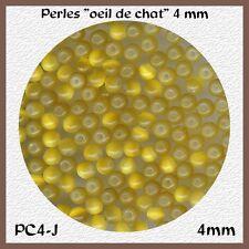PC4 J *** 60 PERLES RONDES OEIL DE CHAT 4MM JAUNE