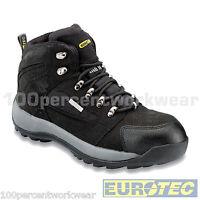 Eurotec 706SM Safety Work Boots Mens Black Hiker Nubuck WATERPROOF Steel Toe Cap