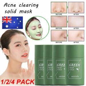 1/2/4pcs Green Tea Purifying Clay Stick Mask Oil Control Anti-Acne Eggplant Fine